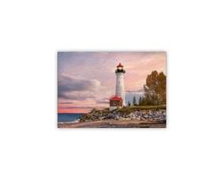 Luxusní dřevěný nástěnný obraz Lighthouse
