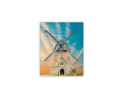 Luxusní dřevěný nástěnný obraz Windmill