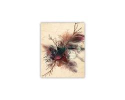 Luxusní dřevěný nástěnný obraz Feathers