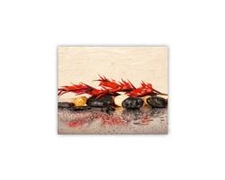 Luxusní dřevěný nástěnný obraz Red Flower