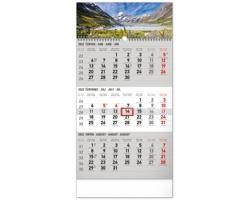 Tříměsíční nástěnný kalendář Krajina 2022 s českými jmény - šedá