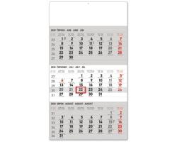 Tříměsíční nástěnný kalendář Standard 2020, s českými jmény - šedá