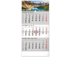 Tříměsíční nástěnný kalendář Krajina 2020, s českými jmény - šedá