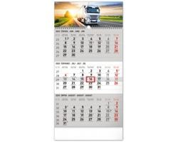 Tříměsíční nástěnný kalendář Truck 2020, s českými jmény - šedá