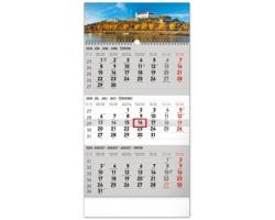 Tříměsíční nástěnný kalendář Bratislava 2020, se slovenskými menami - šedá