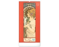 Nástěnný kalendář Alfons Mucha 2021 - 33x64 cm