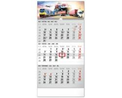 Tříměsíční nástěnný kalendář Spedice 2021 s českými jmény - šedá