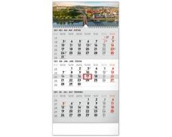 Tříměsíční nástěnný kalendář Bratislava 2021 se slovenskými jmény - šedá