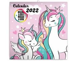 Nástěnný kalendář Šťastní jednorožci 2022 - poznámkový - západoevropský