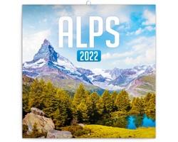 Nástěnný kalendář Alpy 2022 - poznámkový - západoevropský