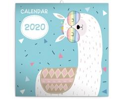 Nástěnný kalendář Šťastné lamy 2020 - poznámkový - západoevropský