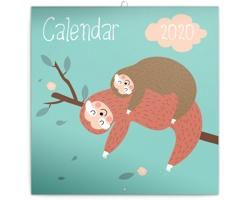 Nástěnný kalendář Šťastní lenochodi 2020 - poznámkový - západoevropský