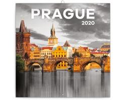 Nástěnný kalendář Praha černobílá 2020 - poznámkový