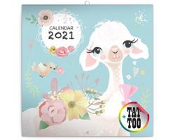 Nástěnný kalendář Šťastné lamy 2021 - poznámkový - západoevropský