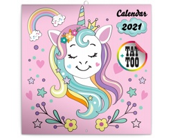 Nástěnný kalendář Šťastní jednorožci 2021 - poznámkový - západoevropský