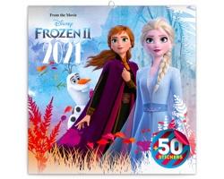 Nástěnný kalendář Frozen - Ledové království II 2021 - poznámkový se samolepkami