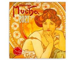 Nástěnný kalendář Alfons Mucha 2021 - poznámkový - mini