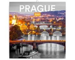 Nástěnný kalendář Praha černobílá 2021 - poznámkový