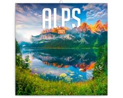 Nástěnný kalendář Alpy 2021 - poznámkový - západoevropský