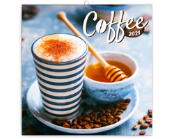 Nástěnný kalendář Káva 2021 - poznámkový, voňavý - západoevropský