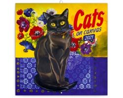 Nástěnný kalendář Kočky na plátně 2021 - poznámkový - východoevropský