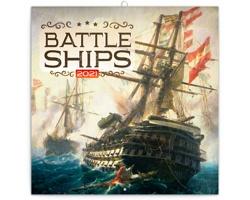 Nástěnný kalendář Bitevní lodě 2021 - poznámkový - západoevropský