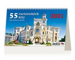 Stolní kalendář 55 turistických nej Čech, Moravy a Slezska 2021