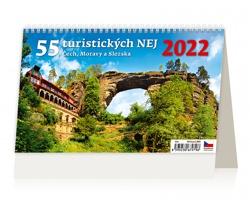 Stolní kalendář 55 turistických nej Čech, Moravy a Slezska 2022