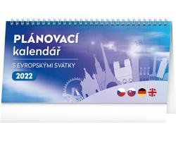 Stolní kalendář Plánovací s evropskými svátky 2022