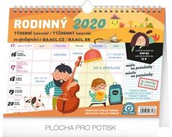 Stolní kalendář Týdenní rodinný plánovací s háčkem 2020