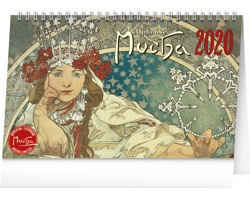 Stolní kalendář Alfons Mucha 2020 - 23 x 14 cm