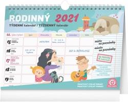 Stolní kalendář Týdenní rodinný plánovací s háčkem 2021
