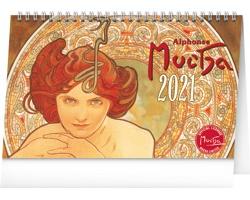 Stolní kalendář Alfons Mucha 2021 - 23,1x14,5 cm