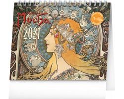 Stolní kalendář Alfons Mucha 2021 - 16,5x13 cm