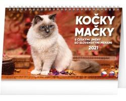 Stolní kalendář Kočky - Mačky 2021 - česko-slovenský