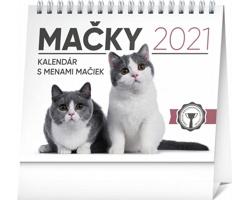 Stolní kalendář Mačky - s menami mačiek 2021 - slovenský