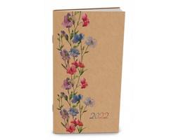 Měsíční diář Halina Kraft 2022, 11x21 cm - květiny