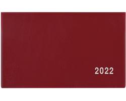 Kapesní týdenní diář Cyril PVC 2022, 15x9 cm - bordó