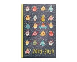 Kapesní týdenní diář Cute Monsters 2020 školní, 10x16cm - černá / šedá