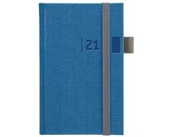 Kapesní týdenní diář Tweed 2021, 9x15 cm - modrá