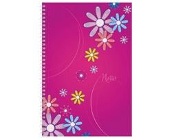 Poznámkový notes Daisy čtverečkovaný, A4 - fialová