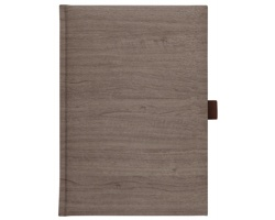 Poznámkový notes Wood čtverečkovaný s poutkem, A5 - hnědá