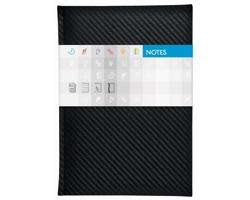 Poznámkový čtverečkovaný notes Carbon, A5 - černá