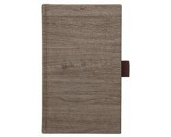 Poznámkový notes Wood čtverečkovaný s poutkem, 9x15 - hnědá