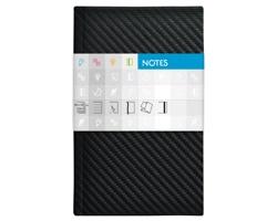 Poznámkový čtverečkovaný notes Carbon, 9x15cm - černá