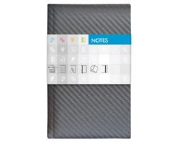 Poznámkový linkovaný notes Carbon, 9x15cm - stříbrná