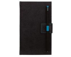 Poznámkový linkovaný notes G-Notes No.2, 13x21 cm - černá / modrá