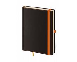 Poznámkový linkovaný blok Black Orange, A5 - černá / oranžová