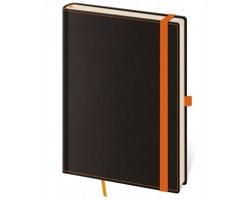 Poznámkový linkovaný blok Black Orange, B6 - černá / oranžová