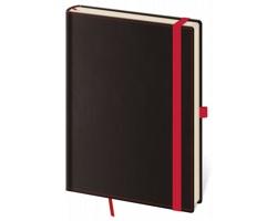 Poznámkový linkovaný blok Black Red, 9x14 cm - černá / červená